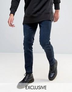 Синие укороченные джинсы слим с необработанными краями Mennace - Черный