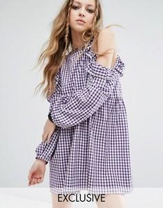 Платье в клеточку с открытыми плечами Milk It Vintage - Фиолетовый