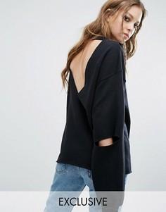 Свободный свитшот в винтажном стиле с открытой спиной Milk It - Черный