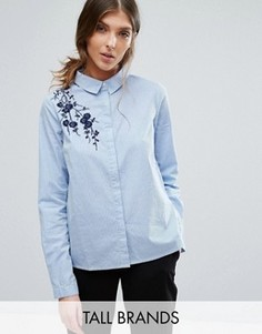 Рубашка в тонкую полоску с вышивкой Vero Moda Tall - Синий