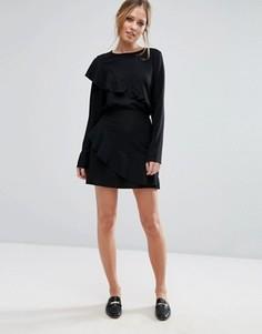 Юбка с асимметричной оборкой Vero Moda - Черный