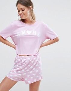 Пижамный комплект с надписью Amore Boohoo - Розовый