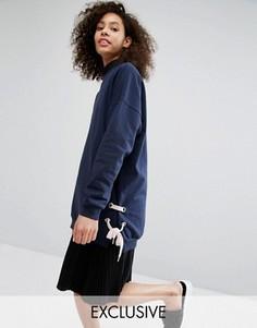 Длинный свитер с завязками по бокам Monki - Темно-синий