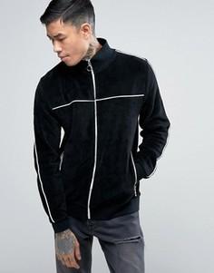 Черная велюровая спортивная куртка с кантом ASOS - Черный