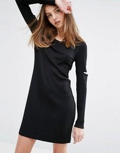Платье мини с вырезами на рукавах Weekday - Черный