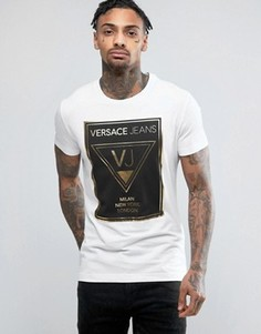 Футболка с большим логотипом металлик Versace - Белый