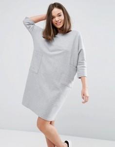 Платье-джемпер с карманами Monki - Серый