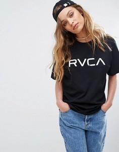 Свободная футболка бойфренда с принтом RVCA - Черный