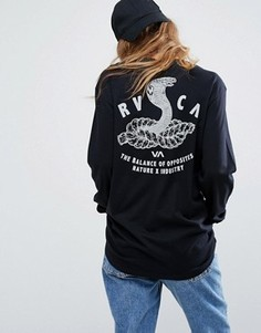 Oversize-лонгслив с принтом змеи на спине RVCA - Черный