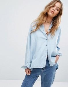Свободная рубашка из шамбре RVCA - Синий