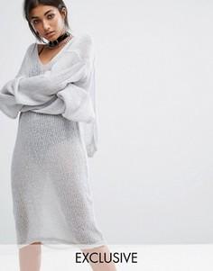 Свободное платье-худи Bones - Серый