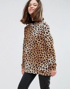 Свитшот с леопардовым принтом Monki - Коричневый