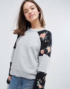 Свитшот с цветочными вставками Monki - Серый