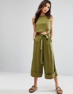 Укороченные брюки от костюма с широкими штанинами и завязкой на талии Native Youth - Зеленый