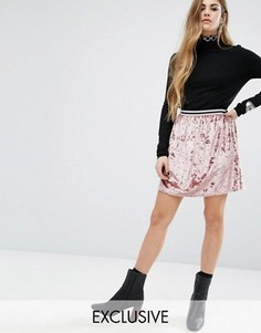 Короткая приталенная юбка с полосатым поясом Rokoko - Розовый