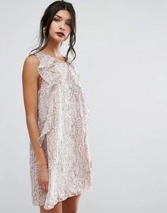 Платье мини со змеиным принтом и рюшами BCBGeneration - Мульти