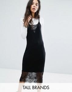 Платье миди на бретельках с кружевными вставками Noisy May Tall - Черный