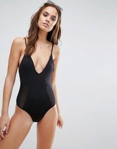 Слитный купальник с сетчатыми вставками Lira Limitless - Черный