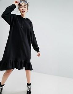 Платье-худи с оборкой по краю Monki - Черный