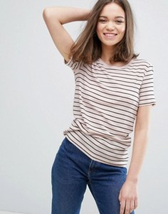 Полосатая футболка Monki - Розовый