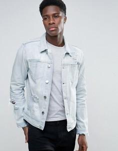 Голубая джинсовая куртка с рваной отделкой New Look - Синий