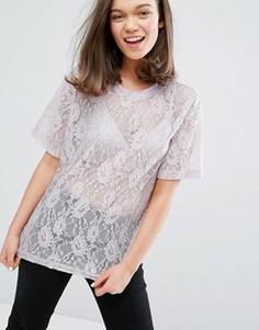 Кружевная футболка Monki - Фиолетовый