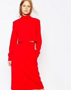 Укороченный топ с высоким воротом The Laden Showroom X Re:Dream - Красный