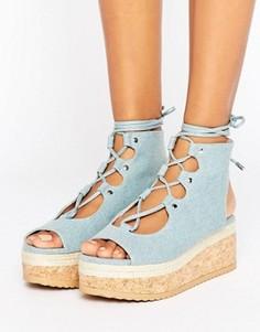 Джинсовые сандалии на плоской платформе со шнуровкой KG Benny - Синий