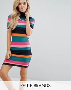 Трикотажное платье в рубчик и разноцветную полоску Noisy May Petite - Мульти
