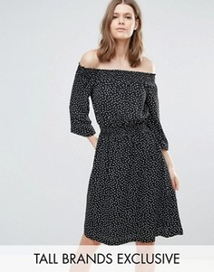 Платье в горошек с открытыми плечами Y.A.S Tall Abby - Мульти