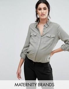 Тканая рубашка с длинными рукавами Mamalicious - Черный Mama.Licious