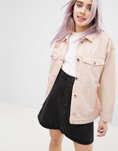 Цветная джинсовая куртка свободного кроя Monki - Розовый