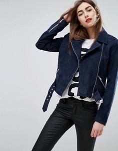 Замшевая байкерская куртка Moss Copenhagen - Темно-синий