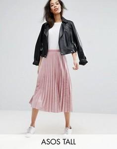 Бархатная юбка миди с плиссировкой ASOS TALL - Розовый