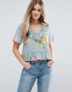 Блузка с цветочным принтом и оборками ASOS - Мульти