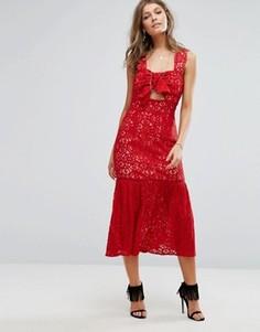 Кружевное платье миди с бантом спереди Foxiedox - Красный