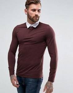 Темно-бордовая обтягивающая футболка-поло с длинными рукавами ASOS - Красный