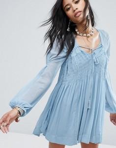 Свободное платье мини Free People Lini - Синий