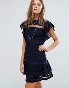 Платье мини с рукавами-оборками Foxiedox - Темно-синий