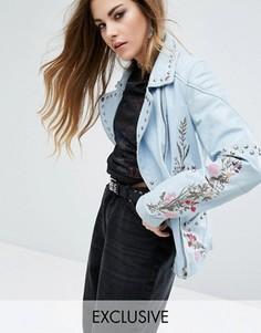 Кожаная байкерская куртка с заклепками и цветочным узором Rokoko Trophy - Синий