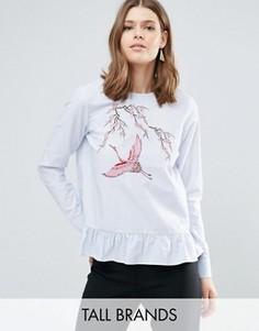 Полосатая блузка с баской и вышивкой Y.A.S Tall Jappa - Мульти