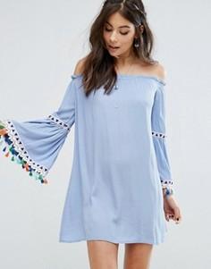 Платье с открытыми плечами и фестивальными кисточками Kiss The Sky - Синий