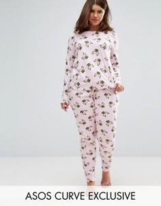 Комплект из футболки с длинными рукавами и пижамных штанов с принтом с мопсами ASOS CURVE - Мульти