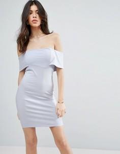 Облегающее платье мини с глубоким вырезом лодочкой ASOS - Синий