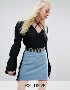 Блузка с ленточкой спереди и сборками на рукавах Milk It Vintage - Черный