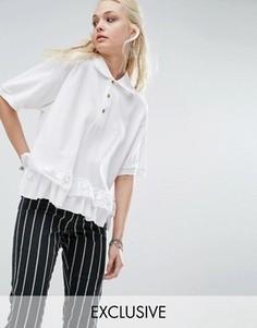 Винтажная футболка-поло с вышитой отделкой Milk It - Белый