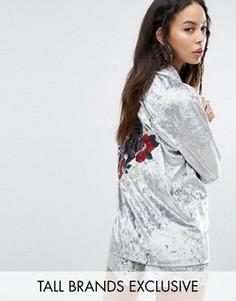 Комбинируемая бархатная oversize-рубашка с вышивкой Jaded London Tall - Серый
