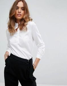 Блузка с отделкой у горловины Sisley - Белый
