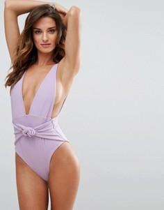 Слитный купальник с глубоким вырезом Skye & Staghorn - Фиолетовый