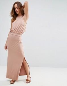 Повседневное платье макси с заниженным проймами ASOS - Розовый